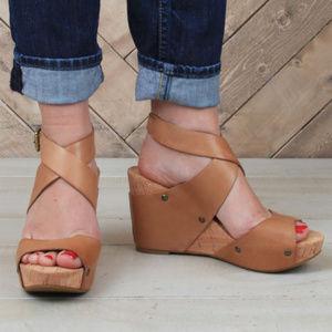 LUCKY BRAND Moran Cork Wedges Sandals 8.5M